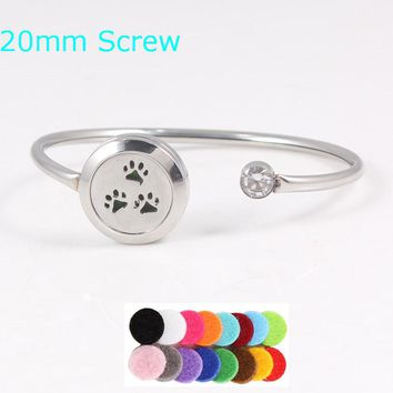Cat Dog Paws Stainless Steel Aromatherapy Essential Oils Diffuser Bracelet Bangle (FREE Scent Pads)