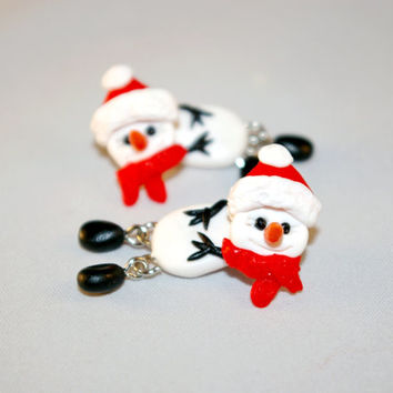 Christmas snowman earrings,Double Sided Earrings,fake gauge,Xmas plug,two part earrings,child gift, front back,Unique faux gauge,unusual