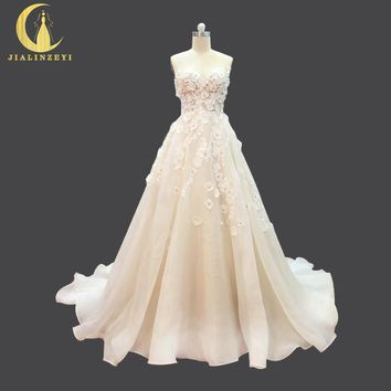 JIALINZEYI Real Picture spaghetti strap Nude Inside lace Flowers Organza  Wedding Dresses long train arabic wedding dress 2017