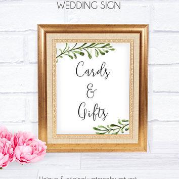 Cards and Gifts Rustic Wedding Signage, Weddings, Printable, Watercolor, Printable Wedding, Wedding Accessory, Receptions, Gifts Sign