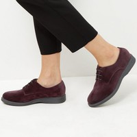 Wide Fit Dark Purple Velvet Chunky Brogues