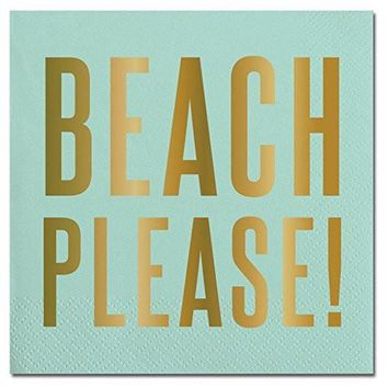 "Aqua Gold Foil ""Beach Please"" Paper Beverage Napkins"