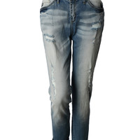 LE3NO Womens Lightweight Distressed Ripped Roll Up Boyfriend Jeans
