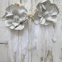White painted magnolia set curtain ties French Nordic hand dipped distressed huge flowers embellished shabby lace adorned anita spero design