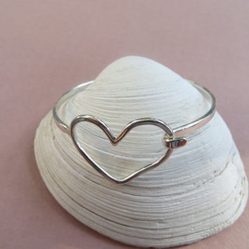 Heart Bangle Bracelet Sterling Silver With Latch Handcrafted Friendship