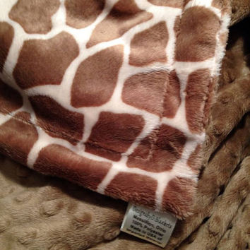 Minky Baby Blanket Giraffe Animal Print Sand Minky Dot Back   Car Seat Stroller  Infant Size 29 x 36