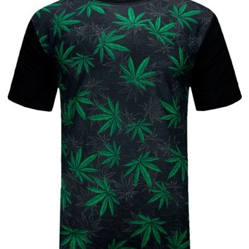 New Men Weed Marijuana Shirt Shorts Sleeve 2 Tone ALL SIZES Stretchy