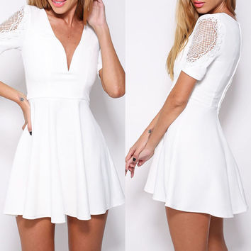 White Lace Accent Short Sleeve V-neck Mini Skater Dress
