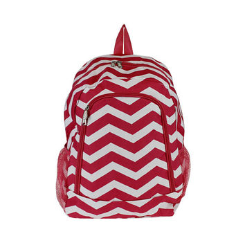 Red & White Chevron Backpack