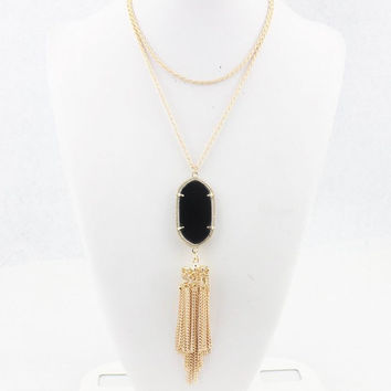Jewelry Colorful Resin Stone Charm Geometric Pendant Tassel  Necklace for Women Christmas Gift