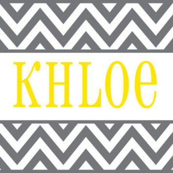 Personalized Vinyl Name Wall Decal - Cute Chevron  Border Name Decal - Baby Girl Boy Nursery Toddler Teen Room 22H x 36W GN001