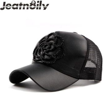 PEAP78W [JEATNOILY] Girl's 5 Panel Baseball Cap Flower PU Cortex Mesh Hat Summer Baseball Cap Leisure Beach For Women