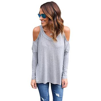 Gray Long Sleeve Relaxed Fit Cold Shoulder Top