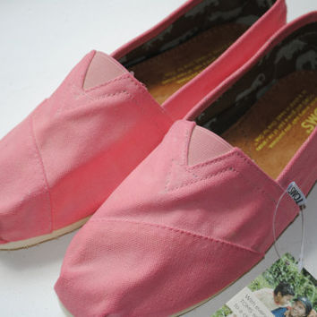 Custom Hand Painted TOMS in Pink by PaperHeartsCouncil on Etsy
