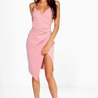 Inna Strappy Wrap Pleated Bodycon Midi Dress