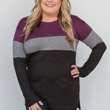Stay With Me Color Block Top - Plum & Grey