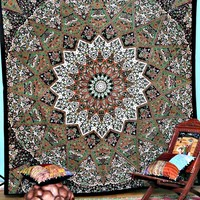 Earth Tone Bohemian Boho Mandala Hippie Gypsy India Tapestry