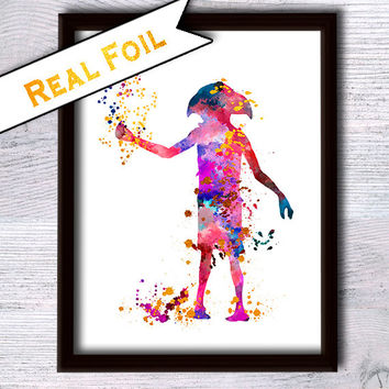 Dobby real foil print Harry Potter Dobby gold foil poster Harry Potter watercolor decor Home decoration Kids room wall decor Gift idea G105