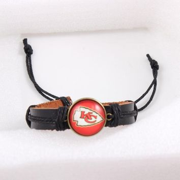6pcs True Leather Adjustable Bracelet Jewelry Team Football Kansas City Chiefs Bracelets & Bangles USA Sport Fans Jewelry