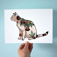 Floral Cat fine art print- Cat print, flower print, cat art drawing, nursery room, cat illustration A4 by Cristina Ripper