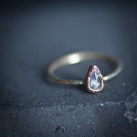 Rose Cut Pear shaped Pale Pink Diamond 14k white and rose gold-ready to ship
