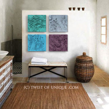 Big Industrial Abstract Wall art, 4 square ORIGINAL Contemporary painting, Large abstract painting, - Concrete Gray, Jade green, blue,purple