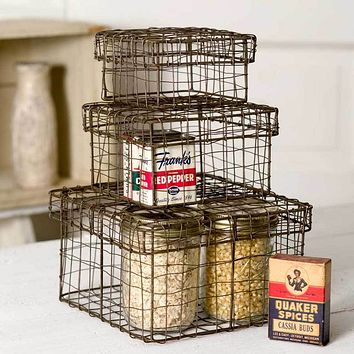 Set of Three Nesting Wire Boxes