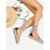 Black And White Criss Cross Flat Sandals