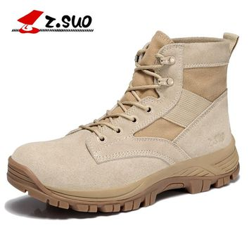 Z. Suo Men Ankle Fashion Boots Suede Breathable Outdoor Boots Men's Tactical Boots Desert Sport Hiking Boots Size 39-44