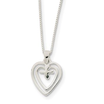 925 Sterling Silver Hearts with Dove Necklace 18 Inch