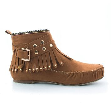 Kalisa63 Whisky Suede Round Toe Studded Ankle Wrap Fringe Tribal Moccasin Flat Booties