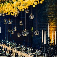 Wedding / Tulip Chandelier With Moss, Hanging Glass Bulb Wedding Decor | Bridal Banter Bl