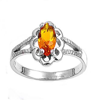 Sterling Silver Marquise Flower Filigree CZ Citrine 11MM CZ Petite Rings