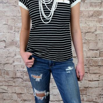 Olivia Cross Back Striped Top -Black/Ivory