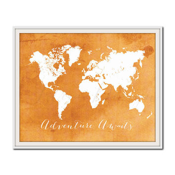 Summer Home Decor, Orange Travel Print, World Map Poster, Colorful Map Print, Kids Bedroom Decor, Playroom Wall Art