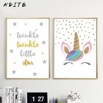 NDITB Nursery Canvas Wall Art Poster Cartoon Unicorn Print Minimalist Painting Decorative Picture Baby Girls Room Decoration