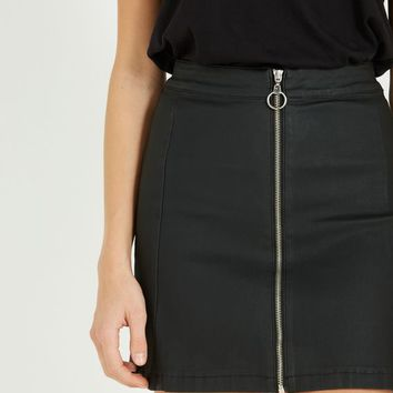 A Line Coated Zip Through Mini Skirt
