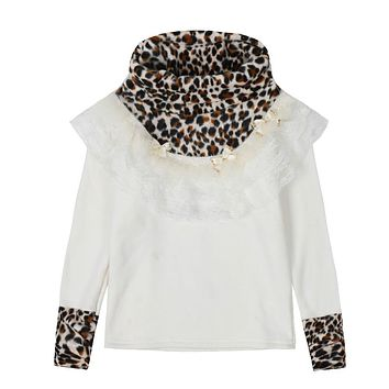 Winter Sweatshirts For Girls Clothes Thick Plus Velvet T-Shirts Leopard Turtleneck Tops Warm Bottoming Shirts Kids Clothes