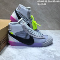DCCK2 N697 Off White x Nike Blazer High All Hallows Eve Skate Shoes Grey Black Purple