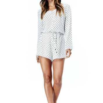 KHLOE PRINTED LONG SLEEVE ROMPER - OFF WHITE + BLACK