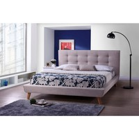Baxton Studio Jonesy Scandinavian Style Mid-century Beige Linen Fabric Upholstered Platform Bed | Overstock.com Shopping - The Best Deals on Beds