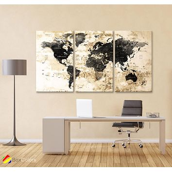 "LARGE 30""x 60"" 3 panels 30x20 Ea Art Canvas Print Watercolor Map World Push Pin Travel M1827"