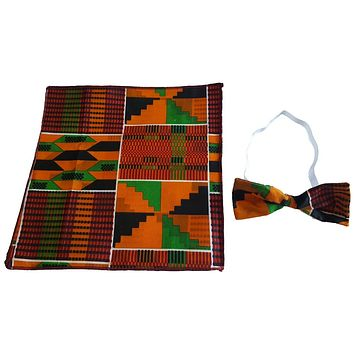 🎁 ONE DAY SALE Men's Kente Ankara Fabric African Print Bow Tie and Pocket Square Hankerchief Set