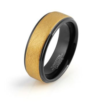 Black Tungsten Ring Yellow Gold Wedding Band Ring Man Tungsten Carbide 8mm 18K Tungsten Ring Mens Wedding Band Male Women Anniversary Promise Two Tone Stepped