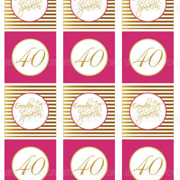 Printable 40th Birthday Cupcake Toppers, Sticker Labels & Party Favor Tags