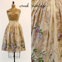 50's Skirt XXS /  1950s Cotton Circle Skirt / The Floral and Fruit Skirt