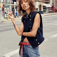 Free People Cropped Military Vest