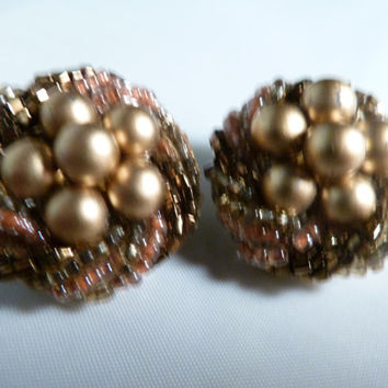 Vintage Pearl Seed Bead Earrings Gold and Bronze Cluster Nest Japan Costume Jewelry Perfect for Spring or Easter