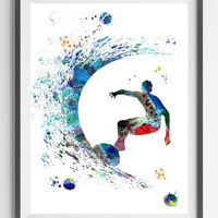 Surfer watercolor print surfing man poster surfer illustration sport art surfing surfer painting wall decor art gift for surfers [901]