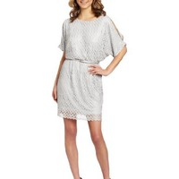 Jessica Howard Petite Women's 3/4 Cold Shoulder Tie Waist Blouson Dress